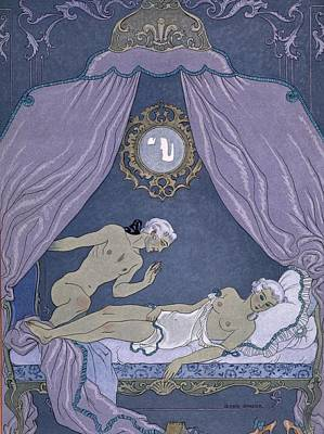 Female Masturbation Painting - Scene From 'les Liaisons Dangereuses' by Georges Barbier