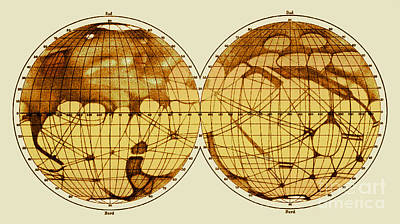 Schiaparelli Map, Canali Of Mars, 1898 Art Print by Science Source