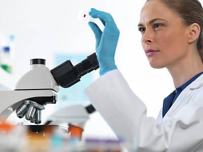 Technician Photograph - Scientist With Microscope Slide by Tek Image