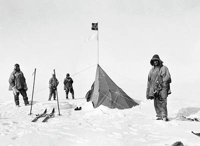 Henry Wilson Photograph - Scott's South Pole Party by Scott Polar Research Institute