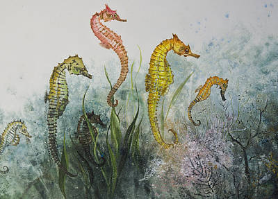 Gyotaku Mixed Media - Sea Horses by Nancy Gorr