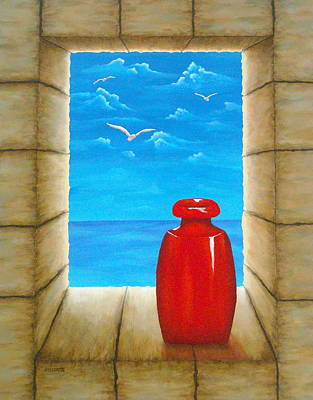 Warm Colors Mixed Media - Sea View From Castle by Pamela Allegretto