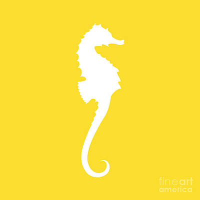 Digital Art - Seahorse In Golden And White by Jackie Farnsworth