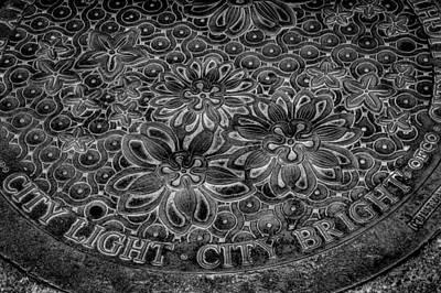 Manhole Photograph - Seattle City Light City Bright Manhole Cover by David Patterson