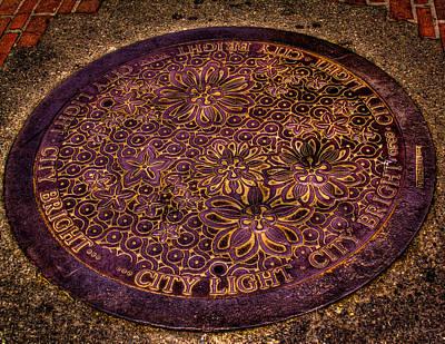 Manhole Photograph - Seattle Manhole Cover by David Patterson