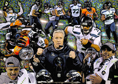 Seattle Seahawks Painting - Seattle Seahawks 2013 Nfl National Foot League Super Bowl Champions by Rich Image