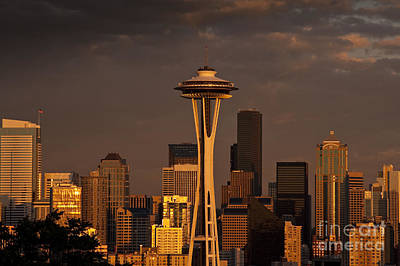 Kitchen Mark Rogan - Seattle Skyline with Space Needle and stormy weather by Jim Corwin