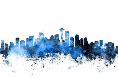 Landscape Digital Art - Seattle Washington Skyline by Michael Tompsett
