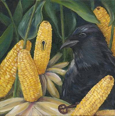 Corn Painting - Secrets Of The Garden- Crow by Debbie McCulley