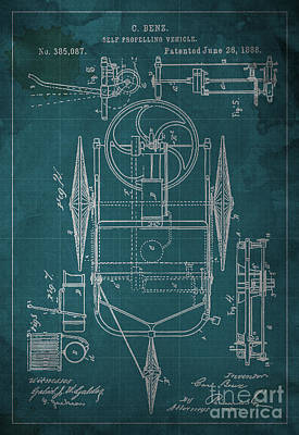 Patent Drawing - Self Propelling Vehicle Patented 1888 by Pablo Franchi