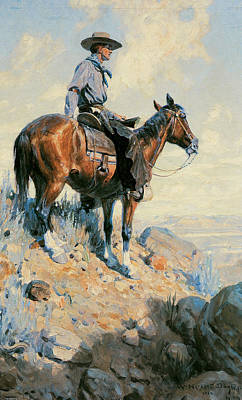 Working Cowboy Photograph - Sentinel Of The Plains by William Herbert Dunton