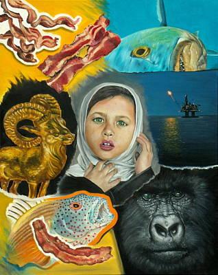 Piranha Painting - Seven Strips Of Bacon by Jordan Mendiola