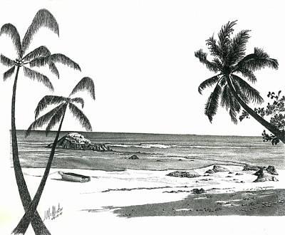 Beach Landscape Drawing - Seychelles Beach by Jimmy McAlister