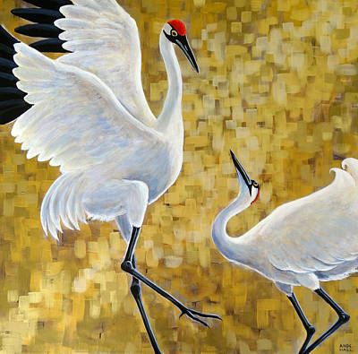 Stork Painting - Shall We? by Ande Hall
