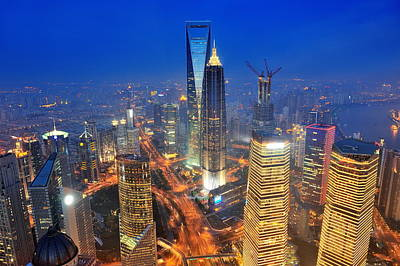 Photograph - Shanghai Aerial At Dusk by Songquan Deng