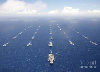 Ships And Submarines Participating Art Print by Stocktrek Images