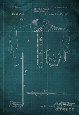 1800 Blueprint Digital Art - Shirt Pocket Blueprint Patent by Pablo Franchi