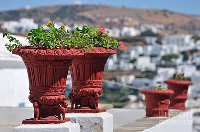 Photograph - Flowerpots In Sifnos Island by George Atsametakis