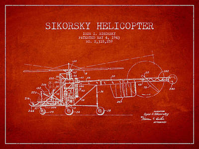 Helicopter Digital Art - Sikorsky Helicopter Patent Drawing From 1943 by Aged Pixel