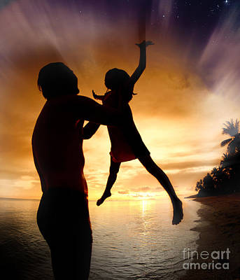 Silhouette Family Of Child Hold On Father Hand Art Print by Anek Suwannaphoom