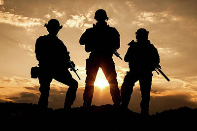 Photograph - Silhouette Of United States Army by Oleg Zabielin