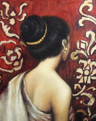 Silk Painting - Silk And Gold by Sompaseuth Chounlamany