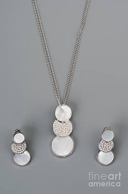 Earring Set Photograph - Silver Necklace With Earrings by Nikita Buida
