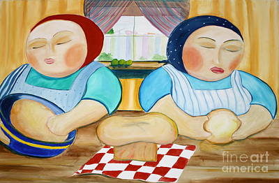 Sisters Baking Art Print by Teresa Hutto