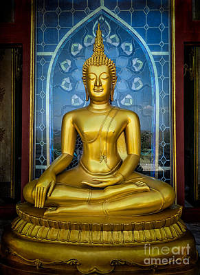 Golden Digital Art - Sitting Buddha by Adrian Evans