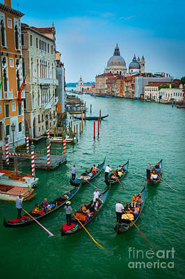 Veneto Photograph - Six Gondolas by Inge Johnsson