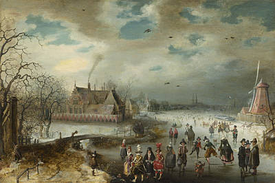 Wisdom Drawing - Skating On The Frozen Amstel River by Celestial Images