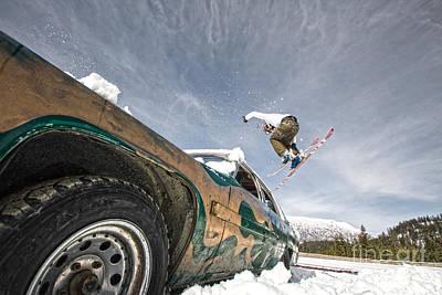 Ski Freestyle - Skier Jumping Over Vintage Car Art Print by Alejandro Moreno de Carlos