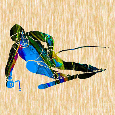 Mixed Media - Skier Painting by Marvin Blaine