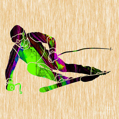Mixed Media - Skiing by Marvin Blaine