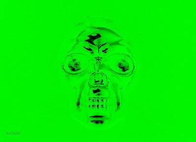 Mixed Media - Skull In Green by Rob Hans