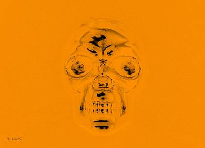Mixed Media - Skull In Orange by Rob Hans