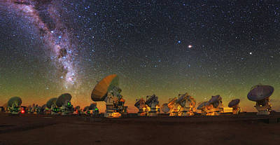 Constellations Photograph - Sky Above Alma Radio Telescope by Babak Tafreshi