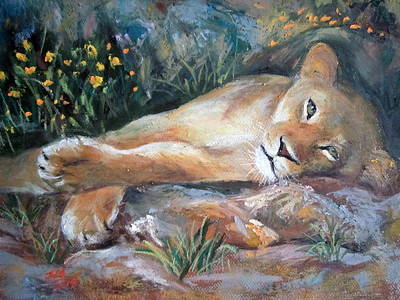 Art Print featuring the painting Sleep Lion by Jieming Wang