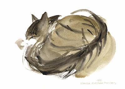 Animal Portraiture Painting - Sleeping Cat by Claudia Hutchins-Puechavy