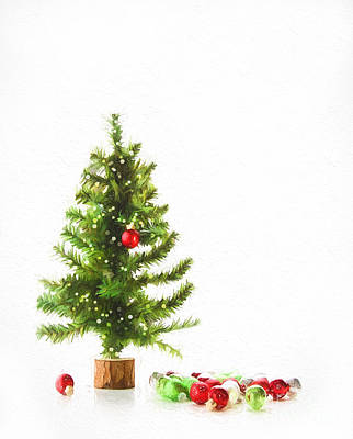 Photograph - Small Tree With Ornaments/ Digital Artwork by Sandra Cunningham