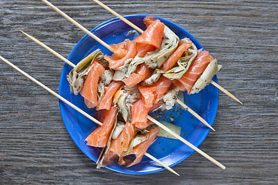 Fishy Photograph - Smoked Salmon And Grilled Artichoke by Tom Gowanlock