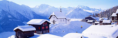 Snow Covered Chapel And Chalets Swiss Art Print