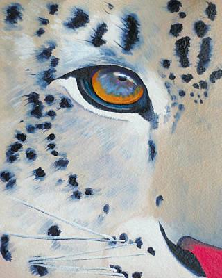Snow Leopard Eye Art Print by John  Sweeney