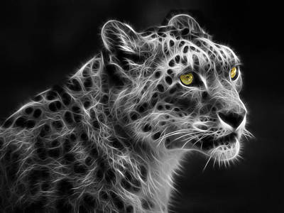 Art Print featuring the digital art Snow Leopard by Nina Bradica