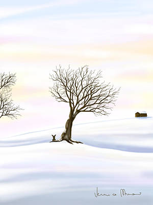 Winter Trees Painting - Snow by Veronica Minozzi