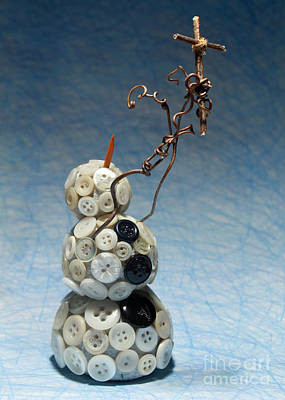 Hand Crafted Mixed Media - Snowman Holding Christian Cross Christmas Card by Adam Long