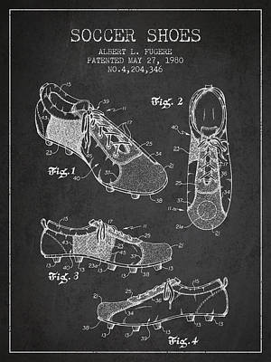 Shoes Digital Art - Soccershoe Patent From 1980 by Aged Pixel