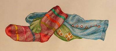 Drawing - Socks 1 by Lew Davis