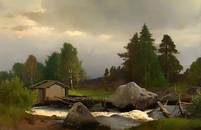 Beautiful Creek Painting - Sorsakoski by Mountain Dreams
