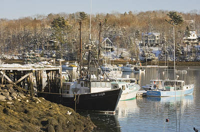 Winter In Maine Photograph - South Bristol And Fishing Boats On The Coast Of Maine by Keith Webber Jr
